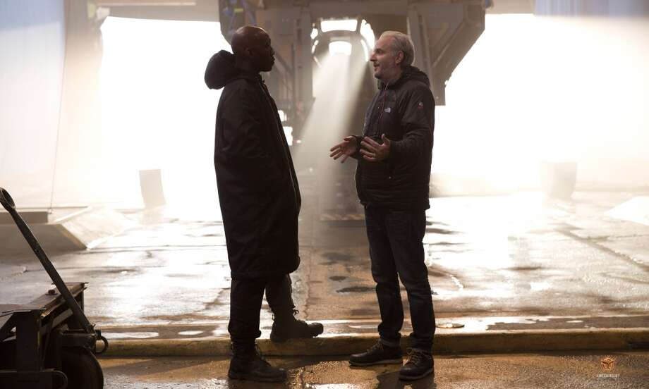 Director Francis Lawrence and Mahershala Ali as Boggs. Photo: Lionsgate