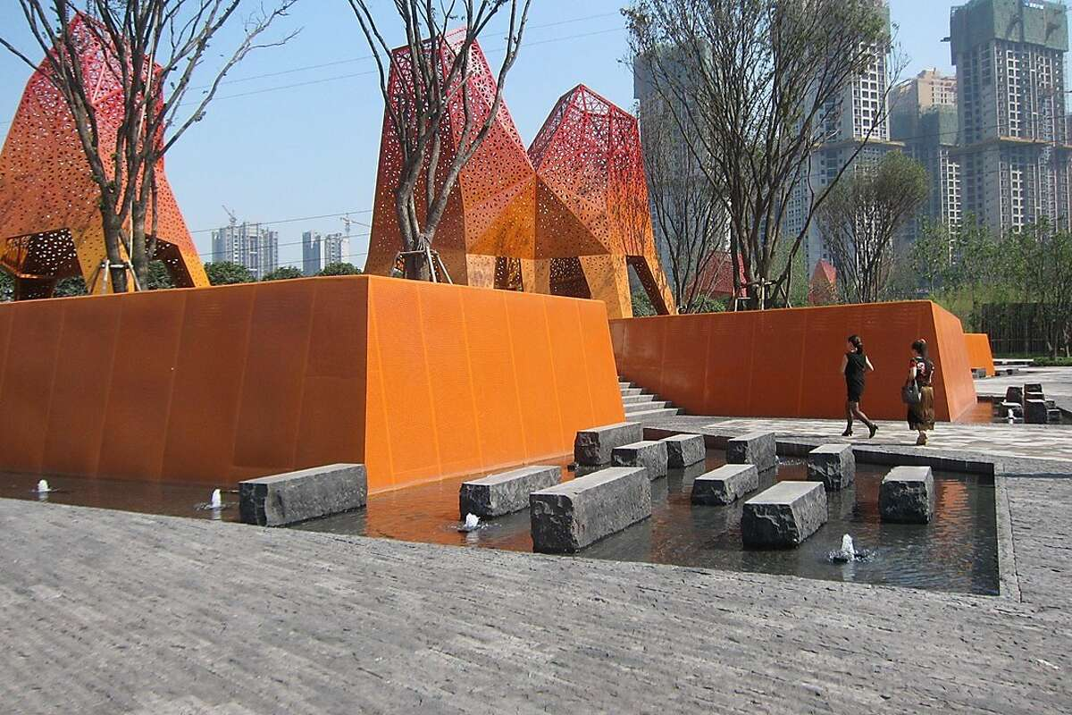 The Fengming Mountain Park in the Chinese city of Chongqing is an example of the recent work by Martha Schwartz, a well-known landscape architect who has an office in London and is a professor at Harvard University's Graduate School of Design.