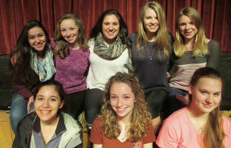 The award-winning student playwrights at New Canaan High School are, front row from left, Lauren Perone, Lillian Engel and Lizzy Crigler; back row, Anna Oxman, Charlotte Engel, Lauren Mellinger, Elizabeth Koennecke and Allegra D'Virgilio. Photo: Contributed Photo, Contributed / New Canaan News Contributed