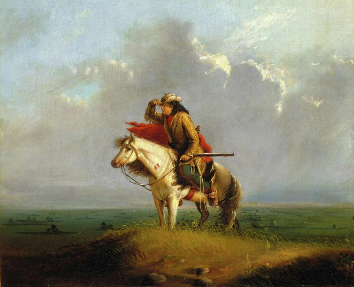 """The figure in Alfred Jacob Miller's """"Lost on the Prairie"""" may appear to be leaning westward, but he was actually just a cook who got lost after he left his wagon train."""