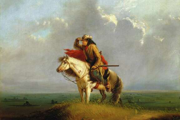 "The figure in Alfred Jacob Miller's ""Lost on the Prairie"" may appear to be leaning westward, but he was actually just a cook who got lost after he left his wagon train."