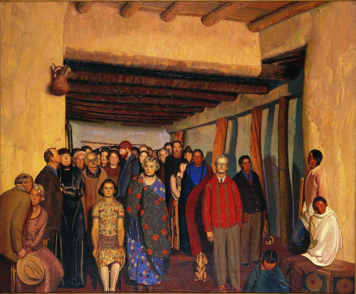 """Ernest Leonard Blumenschein's """"Ourselves and Taos Neighbors"""" depicts members of the Taos Society of Artists."""