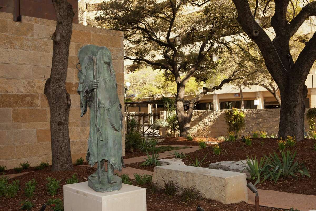 Richard Greeve's Birdwoman adorns the newly inaugurated McNutt Courtyard and Sculpture Garden at the Briscoe Western Art Museum.