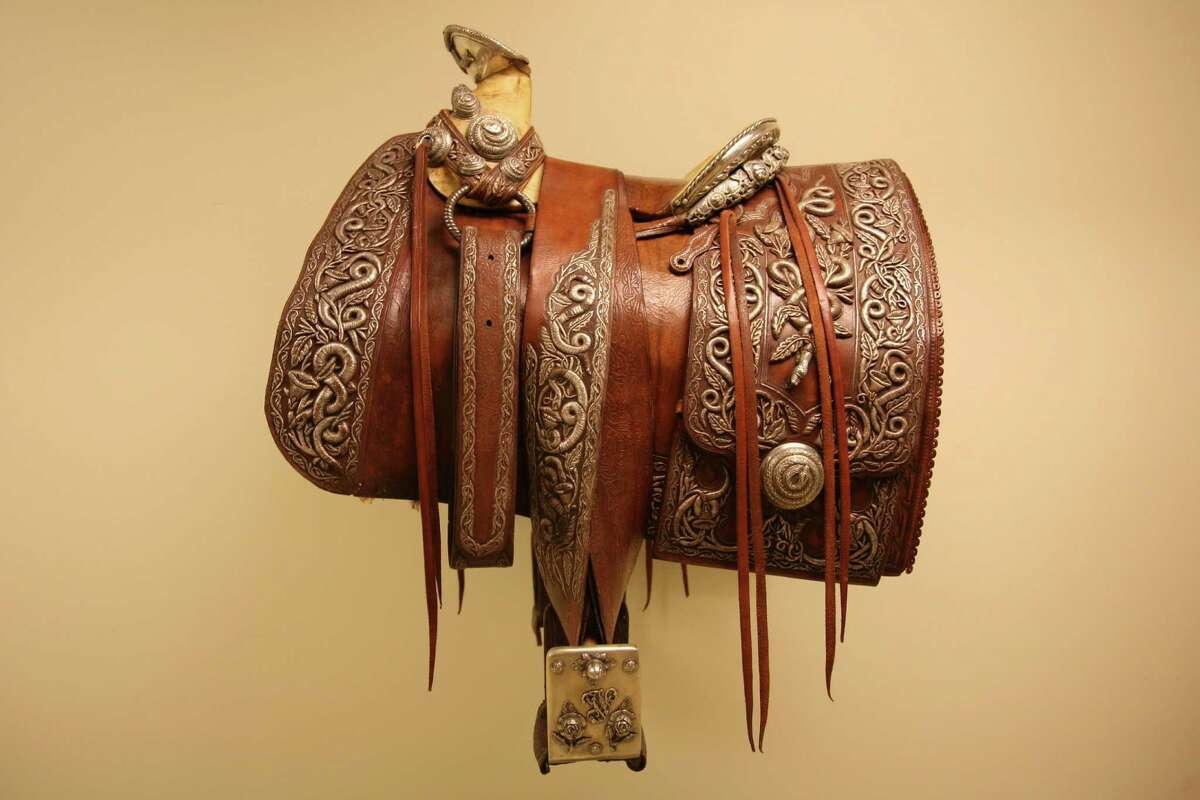 Pancho Villa saddle ca. 1920, Made by Joaquin Rodriguez and Alberto Tulan Cingo Marquez, leather and silver, on loan from the Ernie and Louise Davis Collection, currently on view at the Briscoe Western Art Museum.