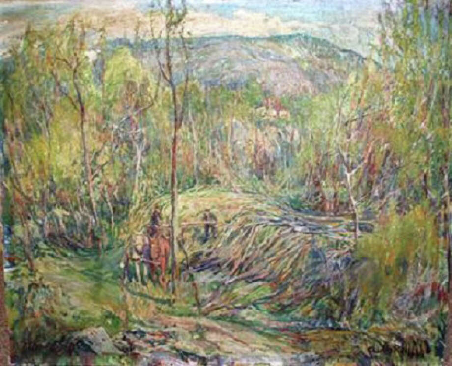 """Logging in the Wilton Woods"" By Charles Reiffel is among the works on display in ""On Canvas, Paper & Board ñ Works by the Silvermine Group of Artists,"" which continues through Aug. 5 in the Silvermine Room of the New Canaan Historical Society. Photo: Contributed Photo, Contributed / New Canaan News Contributed"
