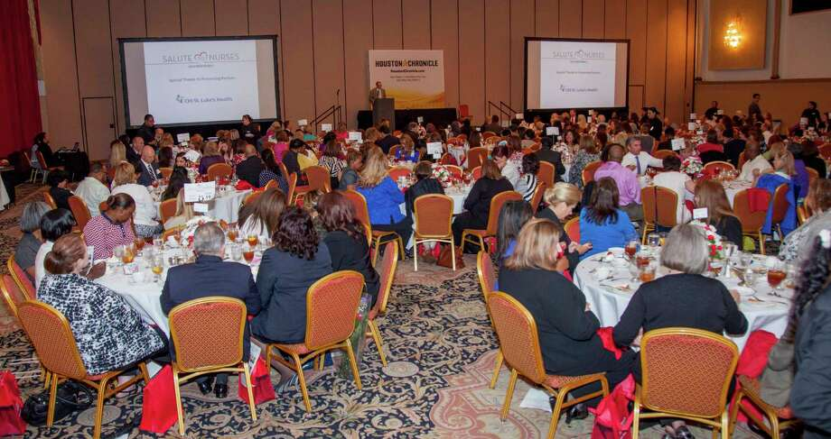 The May 8 Salute to Nurses luncheon at the Crowne Plaza was sponsored by CHI St. Luke's Health and Houston Methodist Hospital System.