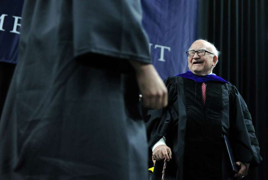Edward Asner is the keynote speaker during Southern Connecticut State University's commencement ceremony Friday, May 16, 2014, at the Webster Bank Arena in Bridgeport, Conn. Photo: Autumn Driscoll / Connecticut Post