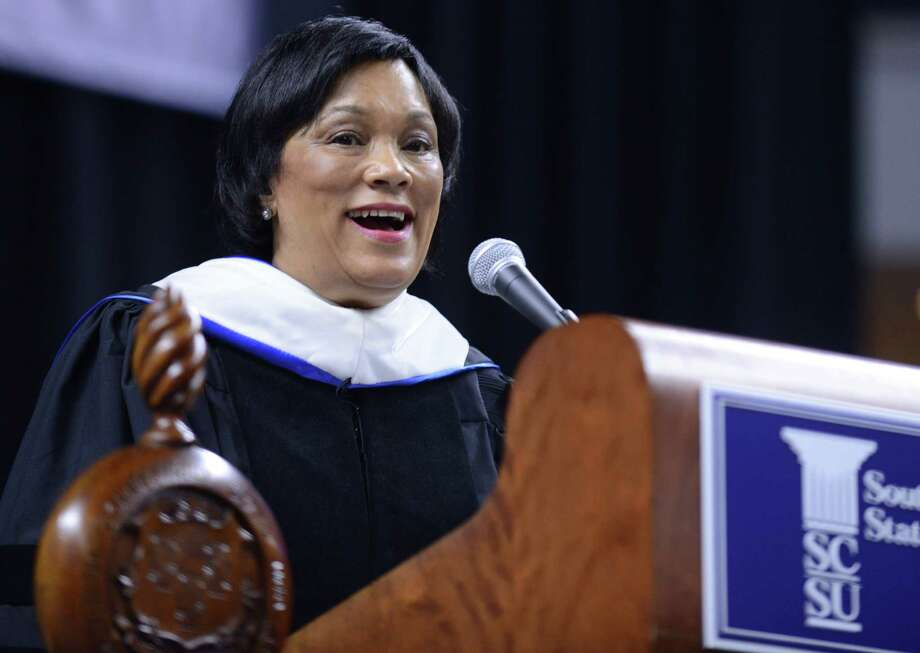 New Haven Mayor Toni Harp speaks during Southern Connecticut State University's commencement ceremony Friday, May 16, 2014, at the Webster Bank Arena in Bridgeport, Conn. Photo: Autumn Driscoll / Connecticut Post