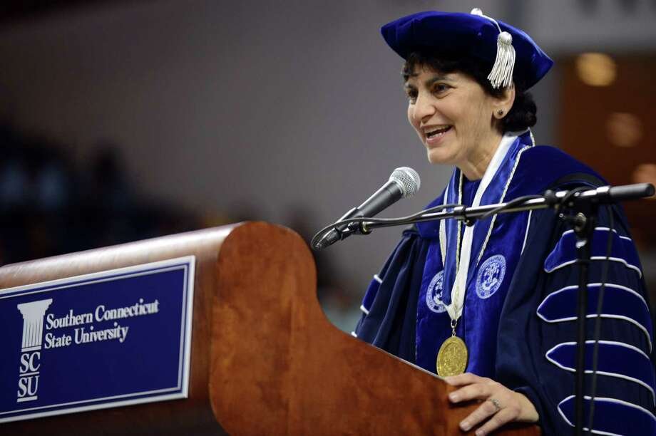 University President Dr. Mary Papazian speaks during Southern Connecticut State University's commencement ceremony Friday, May 16, 2014, at the Webster Bank Arena in Bridgeport, Conn. Photo: Autumn Driscoll / Connecticut Post