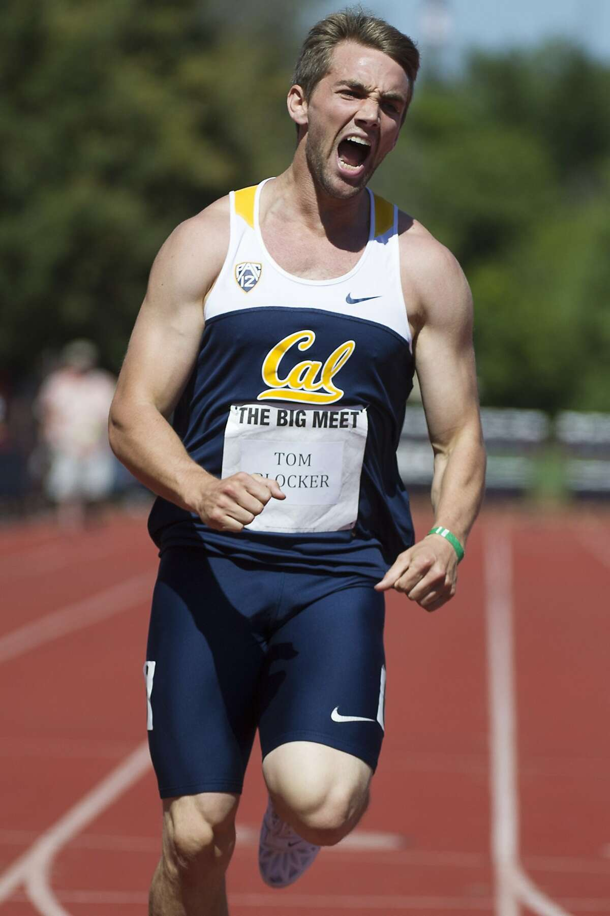 Tom Blocker reacts after winning the men's 200 meter dash during the 118th Big Meet Cal vs Stanford at Stanford University in Stanford, Calif. on April 20,2013.