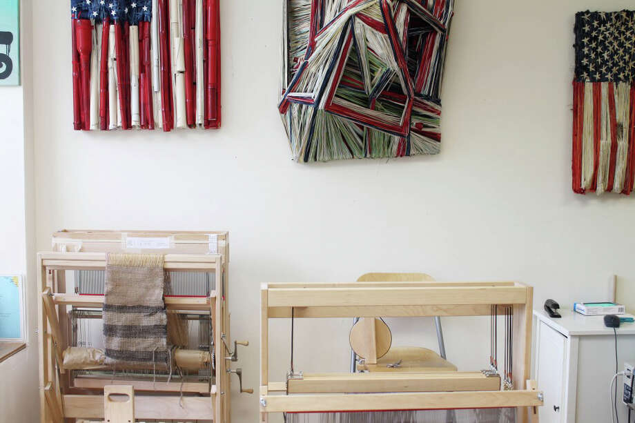 """The weaving studio of textile artist Ruben Marroquin is in Bridgeport's historic Arcade, off Main Street. Marroquin's """"joy"""" is teaching traditional weaving techniques; he also uses his studio to display his expressive textile art pieces. Photos courtesy Whisk and Brush. Photo: Contributed Photo / Connecticut Post Contributed"""