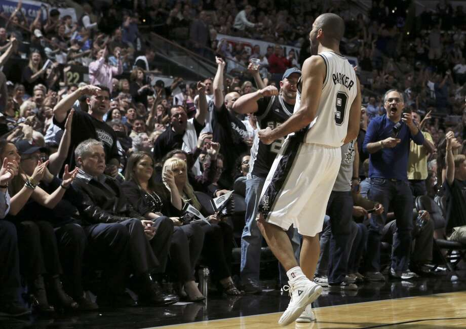 San Antonio Spurs' Tony Parker reacts after scoring during second half action of Game 1 in the Western Conference semifinals against the Portland Trail Blazers Tuesday May 6, 2014 at the AT&T Center. The Spurs won 116-92. Photo: Edward A. Ornelas, San Antonio Express-News