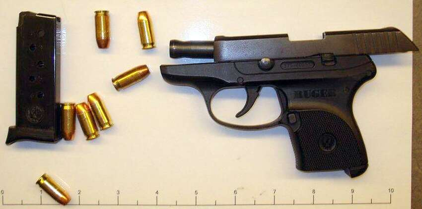 A .380-caliber handgun seized at the San Antonio International Airport by the Transportation Security Administration on April 9, 2014.