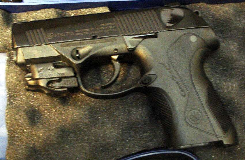 A 9mm handgun seized at the San Antonio International Airport by the Transportation Security Administration on April 29, 2014.