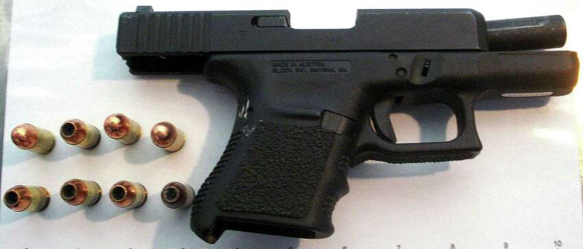 A .45-caliber handgun seized at the San Antonio International Airport by the Transportation Security Administration on April 25, 2014.