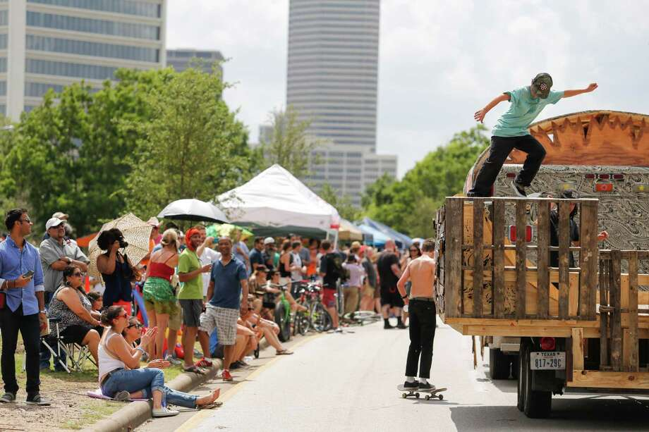 Scenes from the 27th annual Art Car Parade, May 10, 2014 in Houston.  (Eric Kayne/For the Chronicle) Photo: Eric Kayne / Eric Kayne