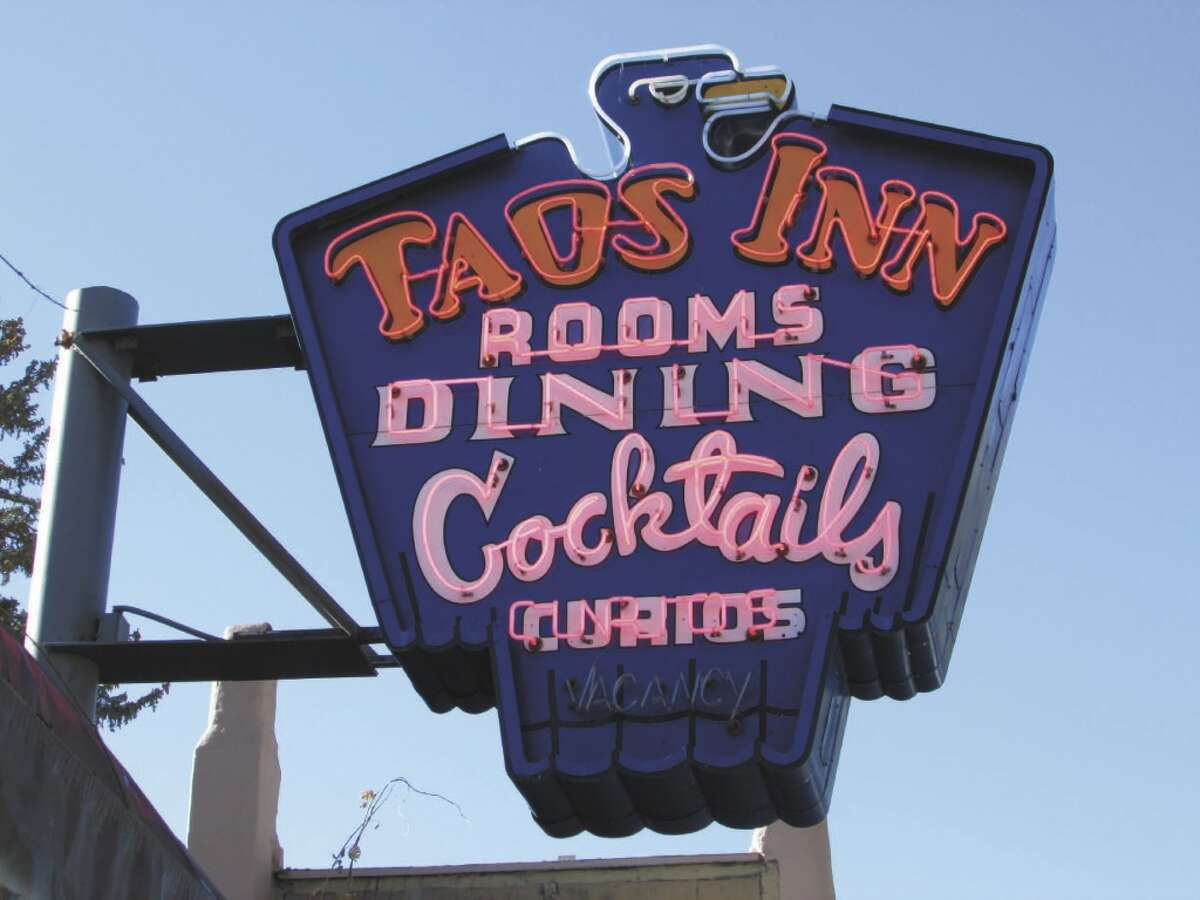 A unique neon sign marks the historic Taos Inn in New Mexico.