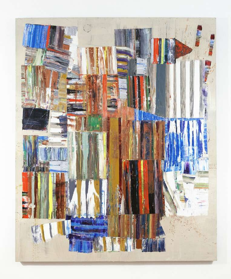 """""""Sundial,"""" a 2014 oil painting by Mike Henderson at the Haines Gallery, brings to mind the scattered makings of a pieced quilt before stitching begins. Photo: Unknown"""