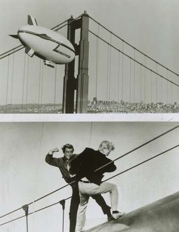"""James Bond has punched and shot his way through some of the most scenic spots on earth, few lovelier than our fair city. In """"A View to a Kill,"""" Roger Moore takes on Zorin, a crazed industrialist who is trying to destroy Silicon Valley — a surprisingly relevant plotline today. Photo: MGM, The Chronicle, File"""