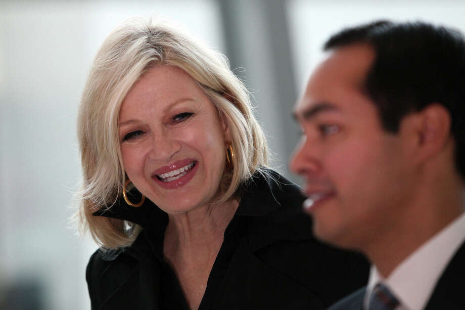 "Mayor Julián Castro talks with Diane Sawyer after taping a segment with her for ""ABC World News"" at the NASCAR Hall of Fame as he prepares for the start of the Democratic National Convention in Charlotte, N.C., on Sept. 4, 2012. Photo: Lisa Krantz, San Antonio Express-News / San Antonio Express-News"