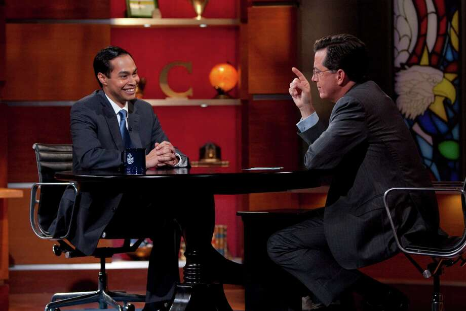 "Mayor Julián Castro is interviewed by host Stephen Colbert on ""The Colbert Report"" on June 29, 2010. Photo: COURTESY THE COLBERT REPORT"