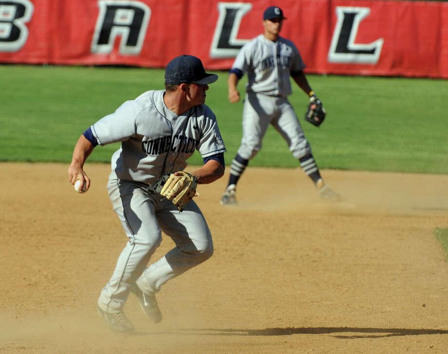 UCONN's #26 Jon Testani, during mens baseball action at Fairfield University in Fairfield, Conn. on Tueday April 17, 2012. Photo: Christian Abraham / Connecticut Post