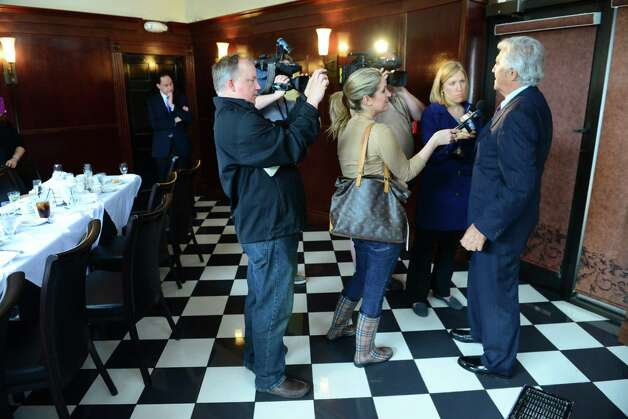 Former Senate Leader Joseph Bruno speaks with media members following a post verdict luncheon party Friday afternoon, May 16, 2014, at Jack's in Albany, N.Y. The former State Senator was found not guilty on federal corruption charges after being tried for a second time. (Will Waldron/Times Union) Photo: WW / 00026783N