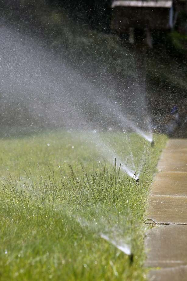Sprinklers water a Pleasanton resident's yard in the middle of the day despite the drought. Photo: Michael Short, The Chronicle