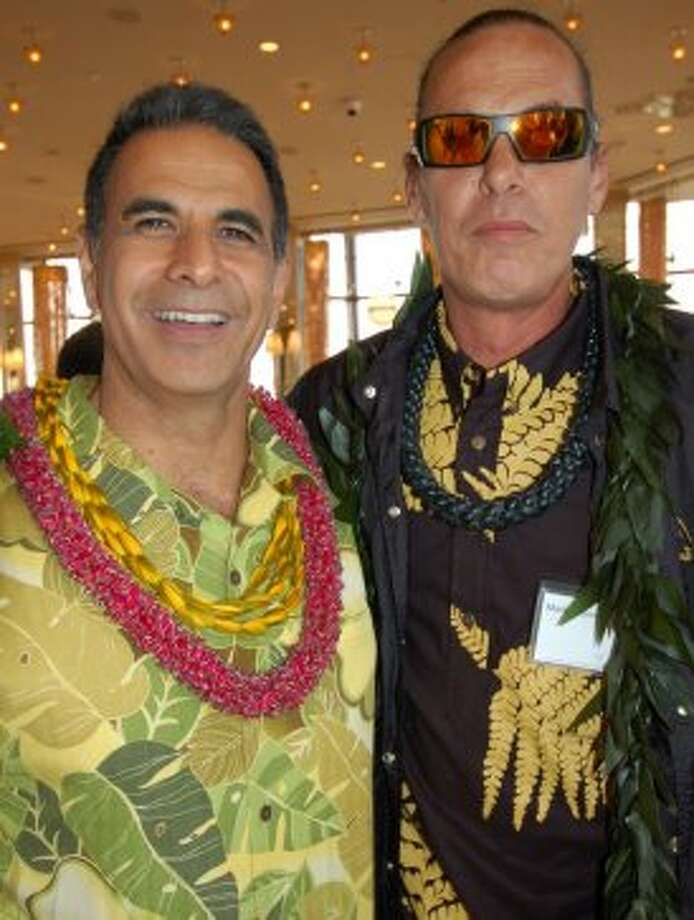 The Bay Area's two iconoclasts of hula, Patrick Makuakane (left) and Mark Kealii Hoomalu,  also favor bold choices in aloha shirt prints. Photo: Jeanne Cooper, SFGate