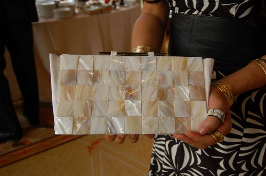 A closer look at Jennifer Wadahara's mother-of-pearl clutch. Photo: Jeanne Cooper, SFGate