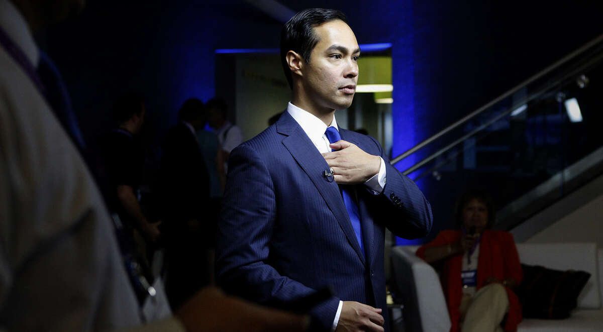 Mayor Julian Castro waits for an interview to begin with Bloomberg News after participating in a Bloomberg-Google Inc. panel disscusson about the potential impact of technology on jobs with the mayors of Charlotte, NC, Houston, and San Francisco, CA at the Democratic National Convention in Charlotte, NC on Thursday, Sept. 6, 2012.