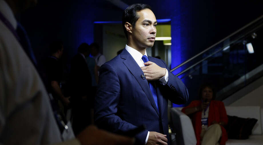 Mayor Julián Castro waits for an interview to begin with Bloomberg News after participating in a Bloomberg-Google Inc., panel discussion about the potential impact of technology on jobs with the mayors of Charlotte, N.C., Houston and San Francisco at the Democratic National Convention in Charlotte on Sept. 6, 2012. Photo: Lisa Krantz, San Antonio Express-News / San Antonio Express-News