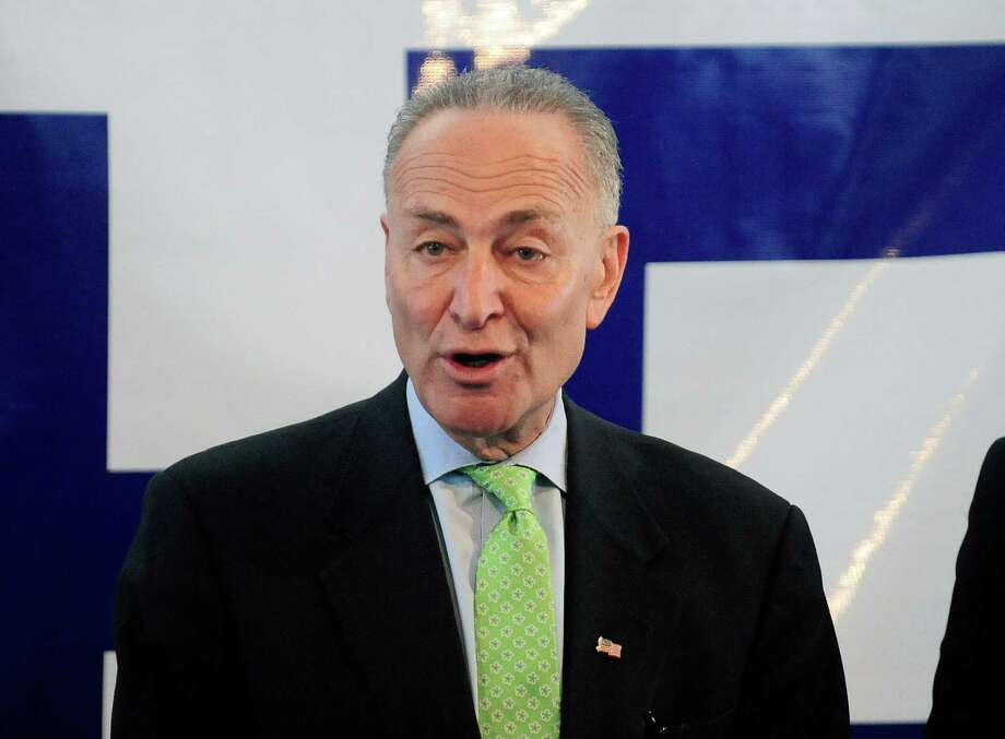 Senator Charles Schumer addresses those gathered during an event on Monday, March 17, 2014, in Albany, N.Y., to announce that the airline JetBlue will begin servicing the  Albany International Airport.   (Paul Buckowski / Times Union) Photo: Paul Buckowski / 00026177A