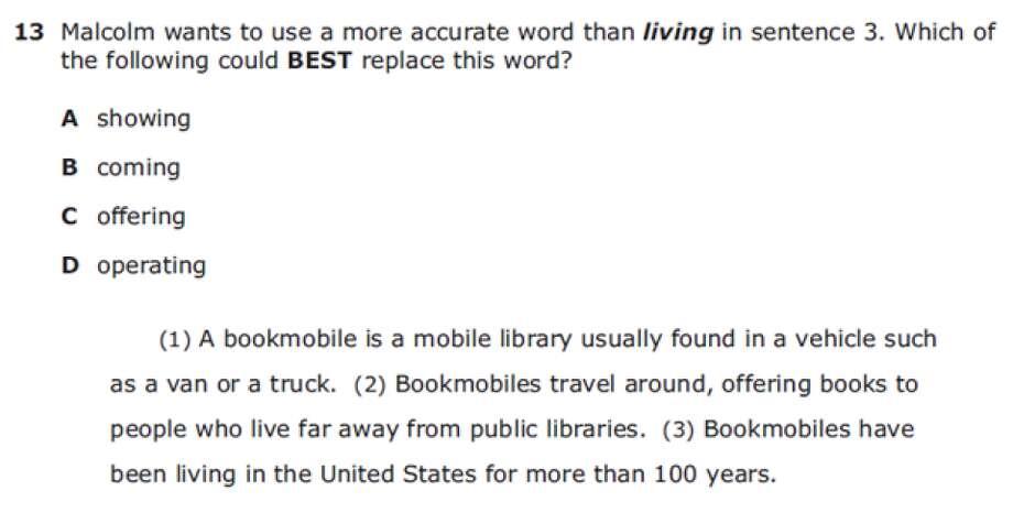Answer: D Photo: Texas Education Agency