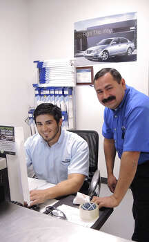 Brown Hyundai of Laredo Parts Manager Juan Vela, right and his assistant Arnulfo Cisneros are ready to help you with genuine Hyundai parts. Photo: CUATE SANTOS / LAREDO MORNING TIMES