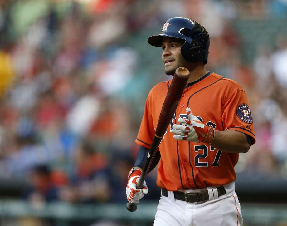 Astros second baseman Jose Altuve walks to the plate in the first inning. Photo: Karen Warren, Houston Chronicle