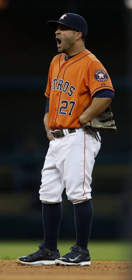 Astros second baseman Jose Altuve yawns on the field in the third inning. Photo: Karen Warren, Houston Chronicle