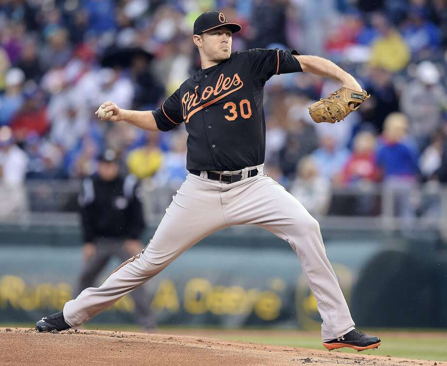 Baltimore Orioles starting pitcher Chris Tillman throws in the first inning against the Kansas City Royals at Kauffman Stadium in Kansas City, Mo, on Friday, May 16, 2014. (John Sleezer/Kansas City Star/MCT) Photo: John Sleezer, McClatchy-Tribune News Service