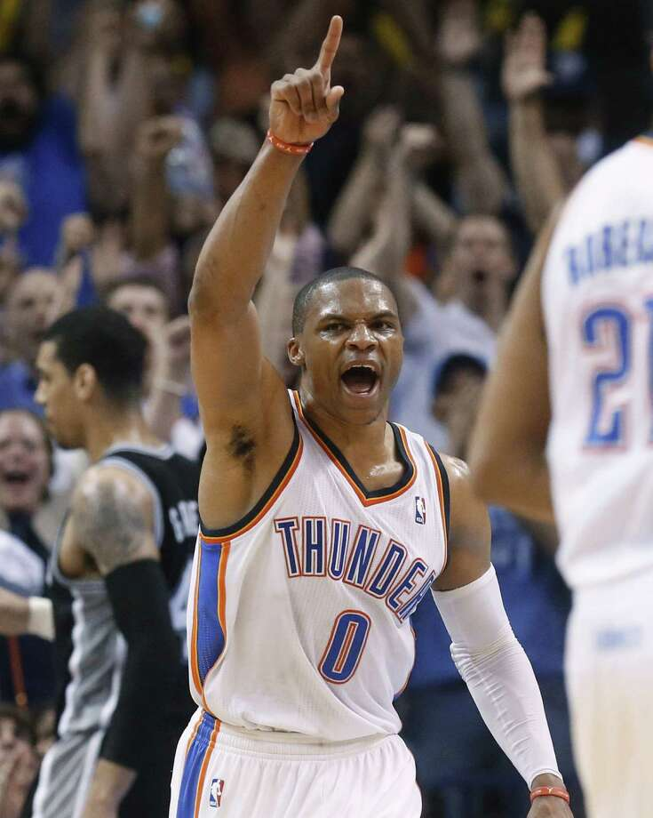 Thunder point guard Russell Westbrook is averaging 26.6 points, 8.4 assists and eight rebounds in the playoffs, but he's only hitting 27.9 percent from 3-point range. Photo: Sue Ogrocki / Associated Press / AP