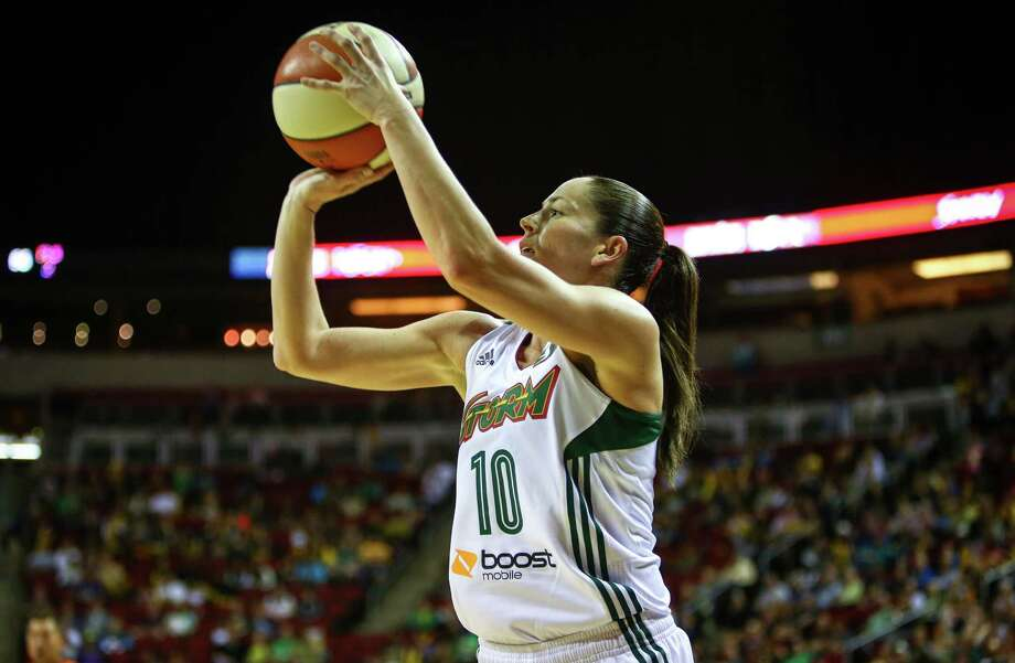 Sue Bird puts up three points during the Seattle Storm season opener on Friday, May 16, 2014 at KeyArena in Seattle. Photo: JOSHUA TRUJILLO, SEATTLEPI.COM / SEATTLEPI.COM