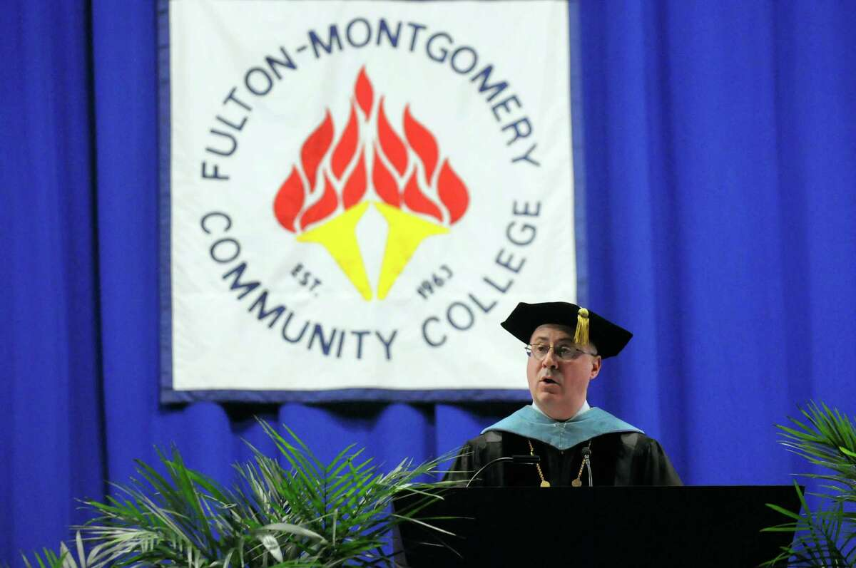 College president Dustin Swanger addresses graduates during commencement exercises on Friday, May 16, 2014, at Fulton-Montgomery Community College in Johnstown, N.Y. (Cindy Schultz / Times Union)