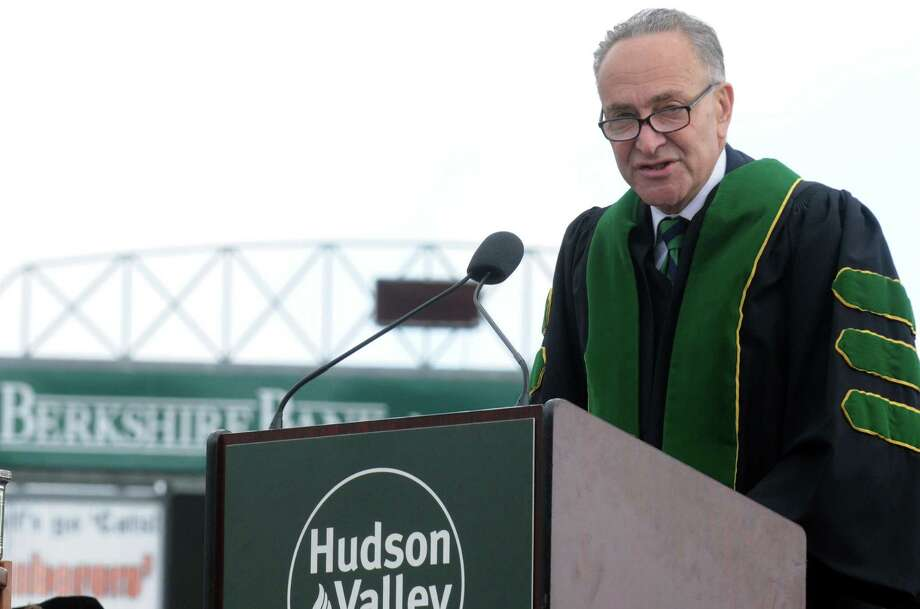 U.S. Sen. Chuck Schumer speaks during the Hudson Valley Community College commencement exercises at Joseph L. Bruno Stadium on Saturday, May 17, 2014 in Troy, N.Y. (Michael P. Farrell/Times Union) Photo: Michael P. Farrell / 00026739A