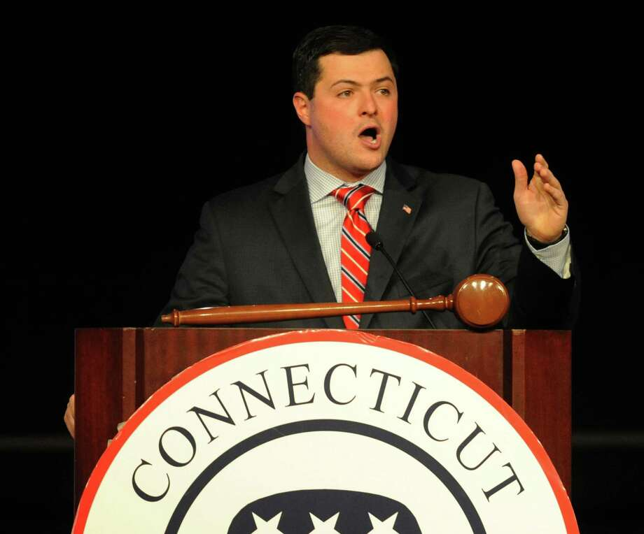Tim Herbst speaks after being selected as the Republican State Treasurer candidate at the Connecticut Republican Convention at the Mohegan Sun Uncas Ballroom in Uncasville, Conn. Saturday, May 17, 2014.  Herbst, currently the First Selectman of Trumbull, beat candidate Bob Eick and will face incumbent Democrat Treasurer Denise Nappier. Photo: Tyler Sizemore / The News-Times