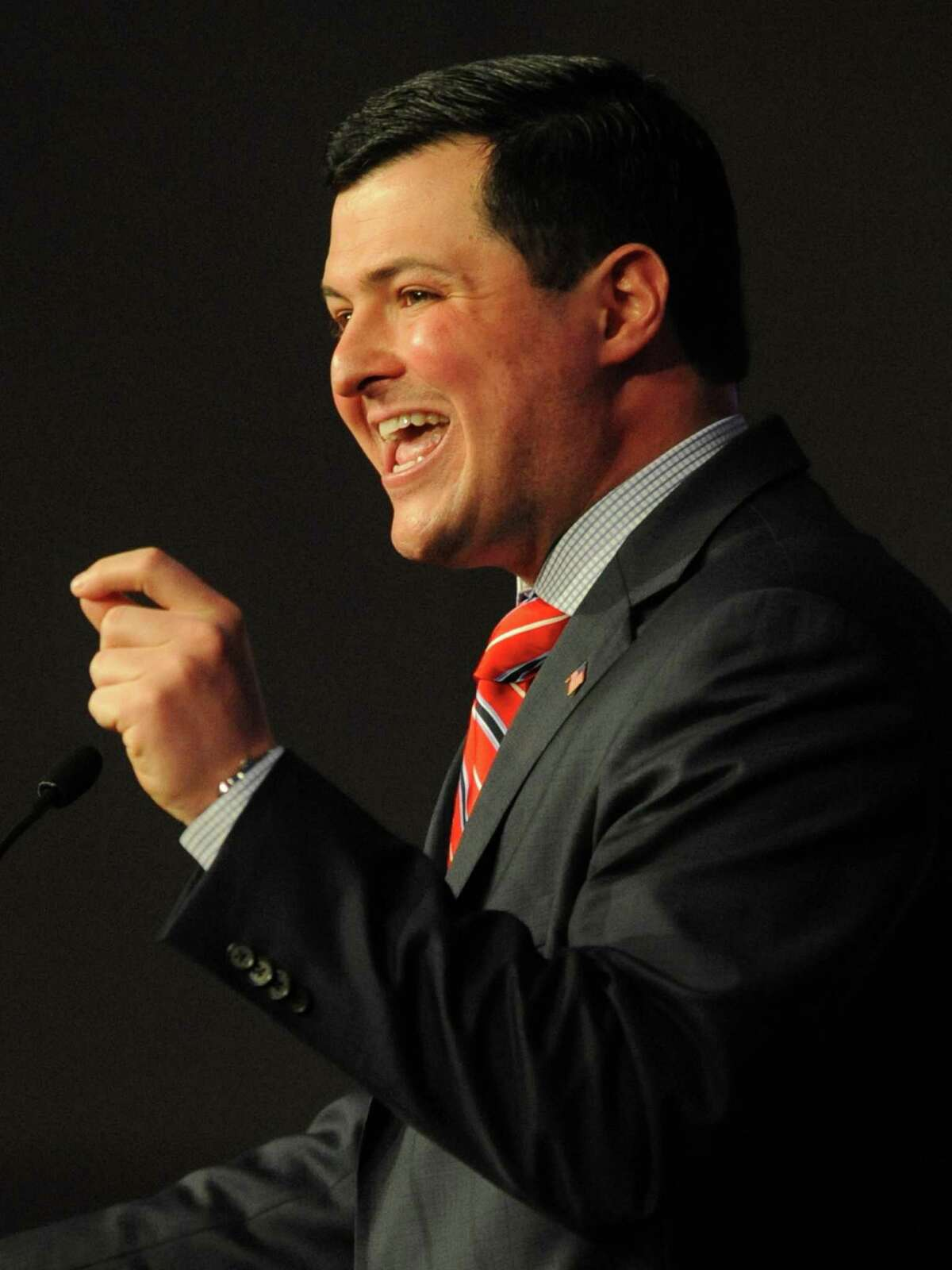 Tim Herbst speaks after being selected as the Republican State Treasurer candidate at the Connecticut Republican Convention at the Mohegan Sun Uncas Ballroom in Uncasville, Conn. Saturday, May 17, 2014. Herbst, currently the First Selectman of Trumbull, beat candidate Bob Eick and will face incumbent Democrat Treasurer Denise Nappier.