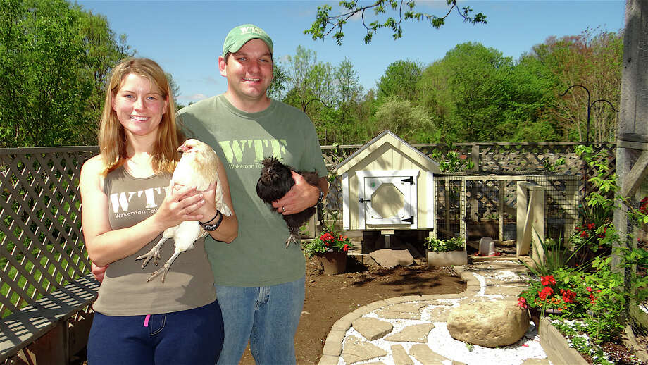 Westport Town Farm stewards Carrie and Mike Aitkenhead and their chickens at the farm which histed the annual Westport Chicken Coop Tour on Saturday. Photo: Mike Lauterborn / Westport News