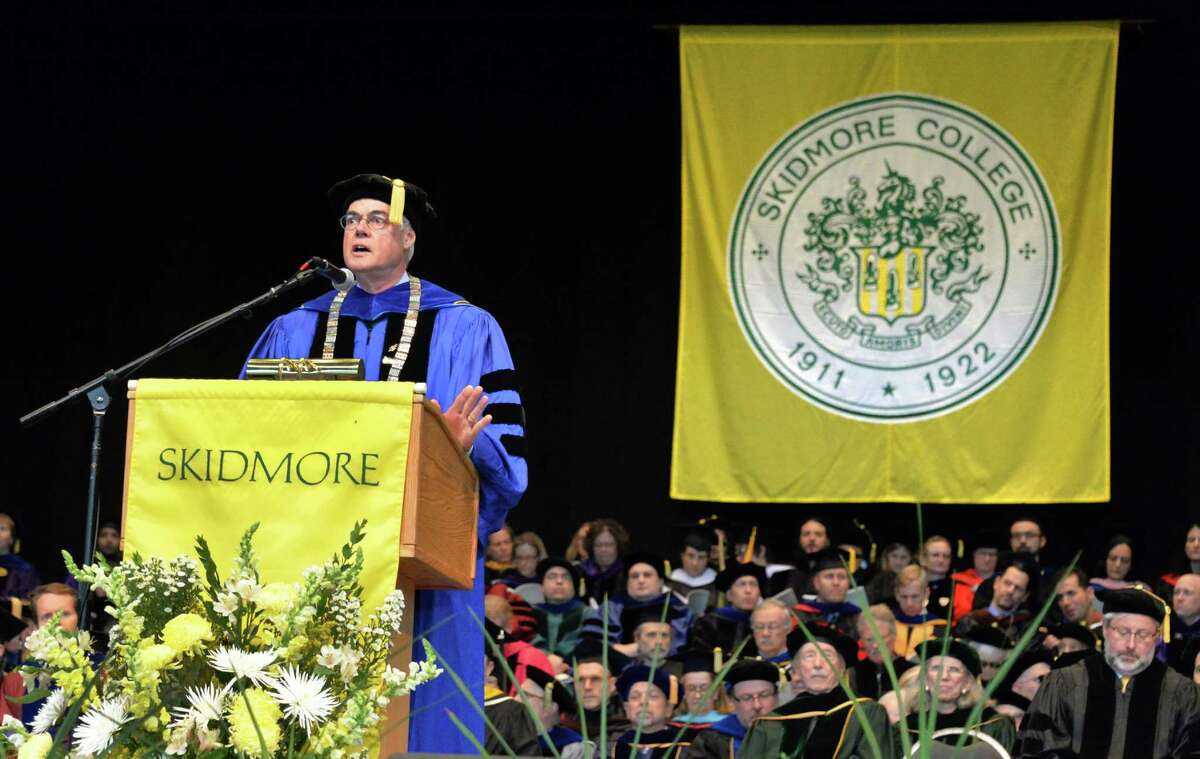 College president Philip Glotzbach speaks during Skidmore College commencement exercises at SPAC Saturday May 17, 2014, in Saratoga Springs, NY.