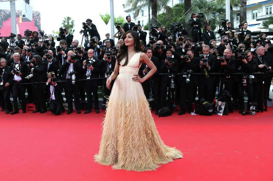 Freida Pinto arrives for the screening of Saint-Laurent at the 67th international film festival, Cannes, southern France, Saturday, May 17, 2014. Photo: Joel Ryan, Joel Ryan/Invision/AP / Invision