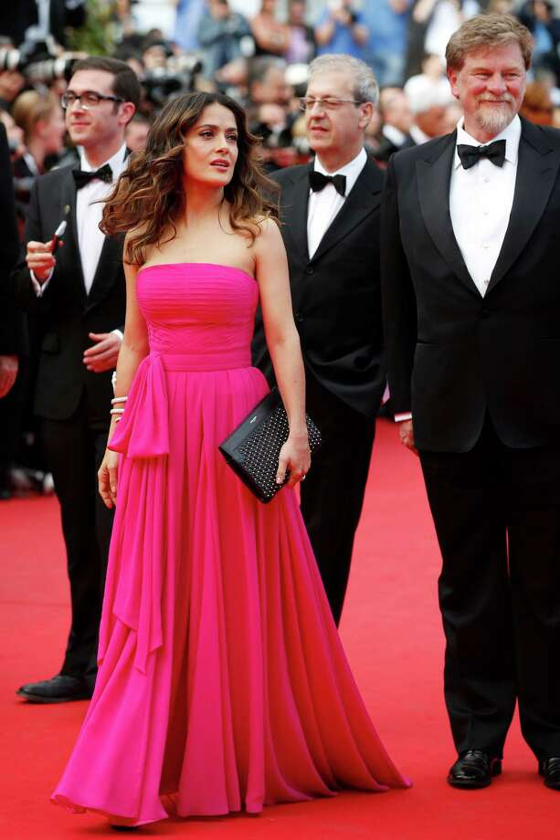 Actress Selma Hayek-Pinault arrives for the screening of Saint-Laurent at the 67th international film festival, Cannes, southern France, Saturday, May 17, 2014. Photo: Alastair Grant, AP / AP