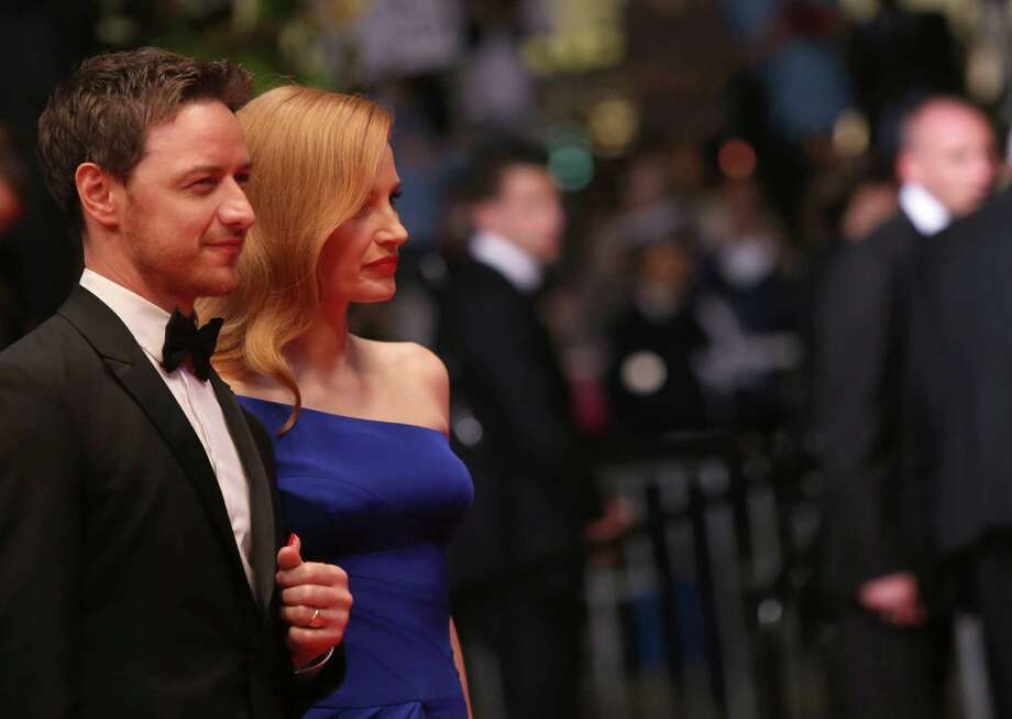 Actors James McAvoy, left, and Jessica Chastain arrive on the red carpet for the screening of Wild Tales (Relatos Salvajes) at the 67th international film festival, Cannes, southern France, Saturday, May 17, 2014. Photo: Joel Ryan, Joel Ryan/Invision/AP / Invision