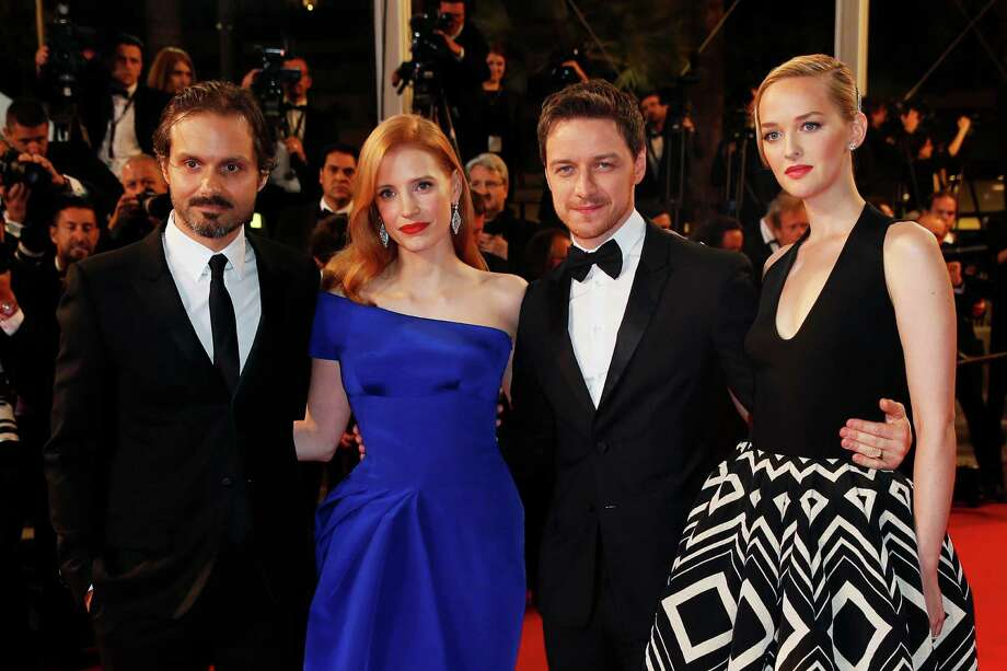 From left, director Ned Benson, actress Jessica Chastain, actor James McAvoy and actress Jess Weixler pose as they arrive for the screening of Wild Tales (Relatos Salvajes) at the 67th international film festival, Cannes, southern France, Saturday, May 17, 2014. Photo: Alastair Grant, AP / AP